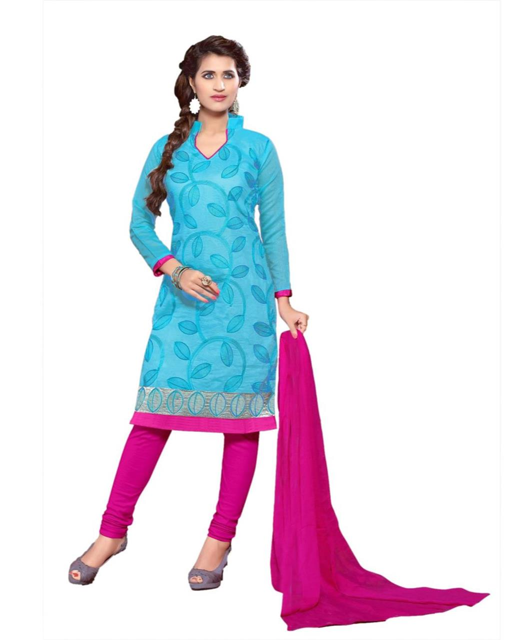 Cotton Straight cut Salwar Kameez in Sky Blue
