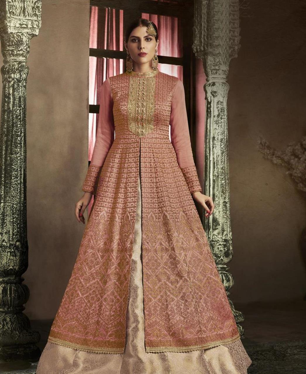 Embroidered Silk PeachPuff Abaya Style Salwar