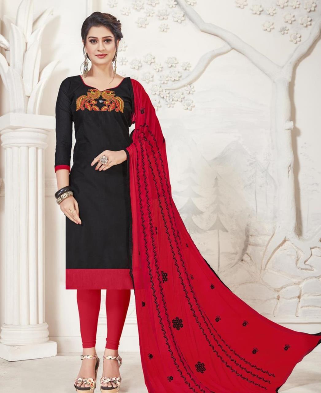 Embroidered Silk Black Straight Cut Salwar