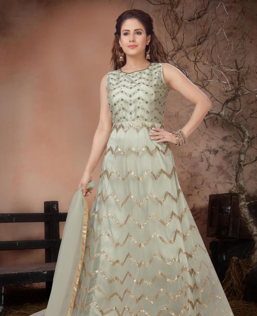 Net Straight cut Salwar Kameez in Silver