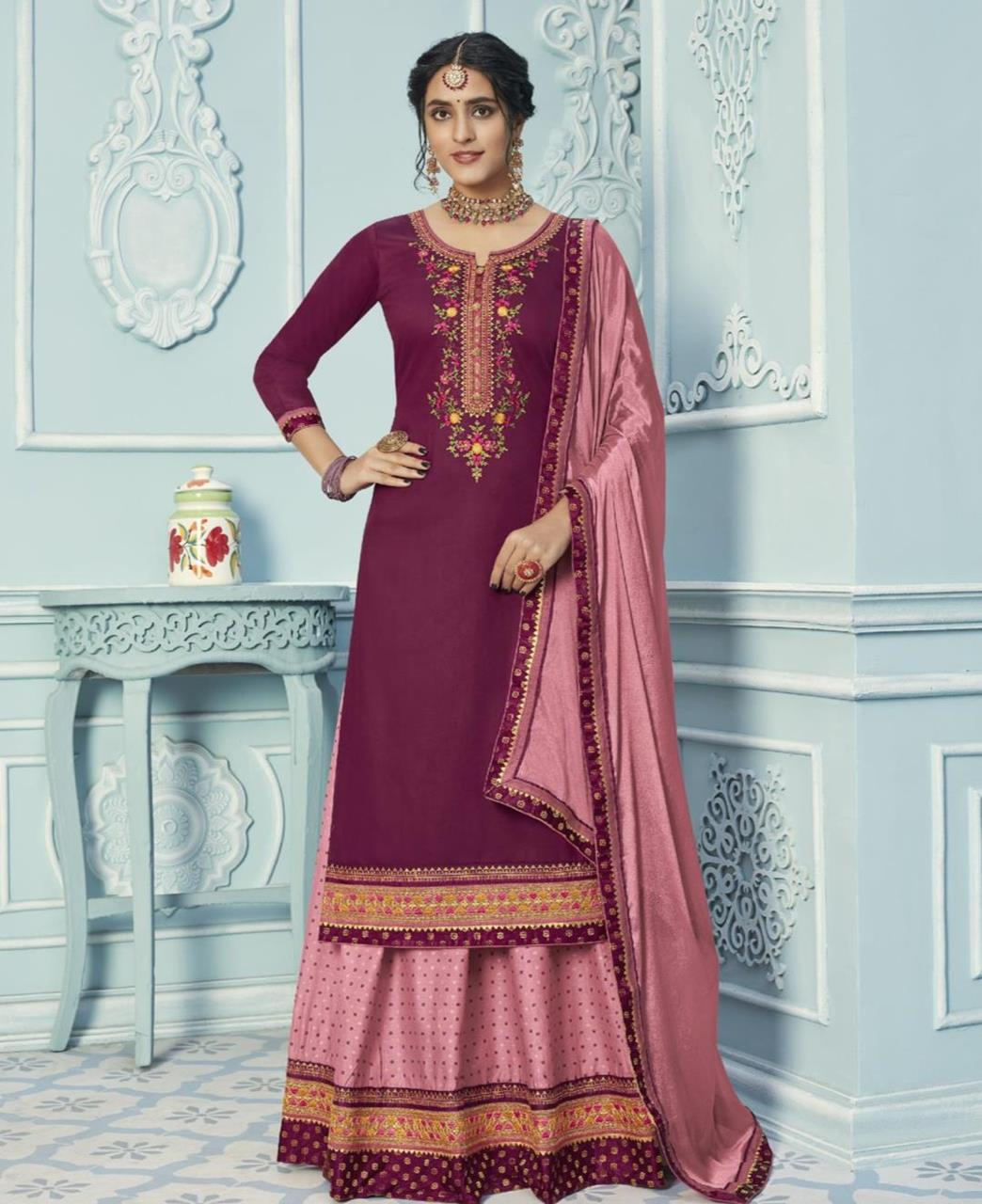 Embroidered Cotton Straight cut Salwar Kameez in Purple