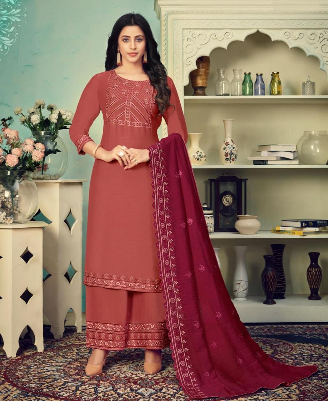 Thread Cotton Straight cut Salwar Kameez in Brown