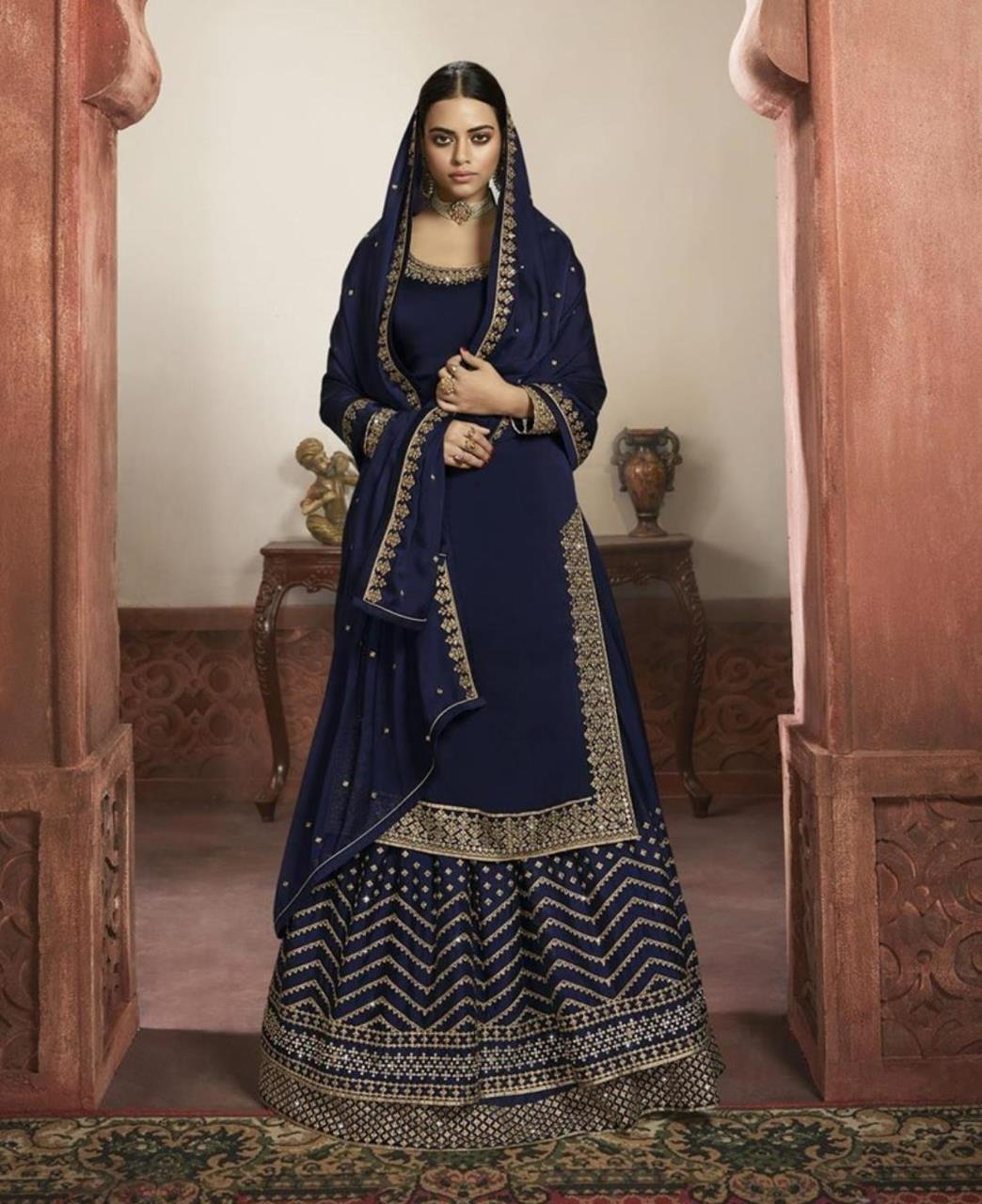 Embroidered Satin Straight cut Salwar Kameez in Royale Blue