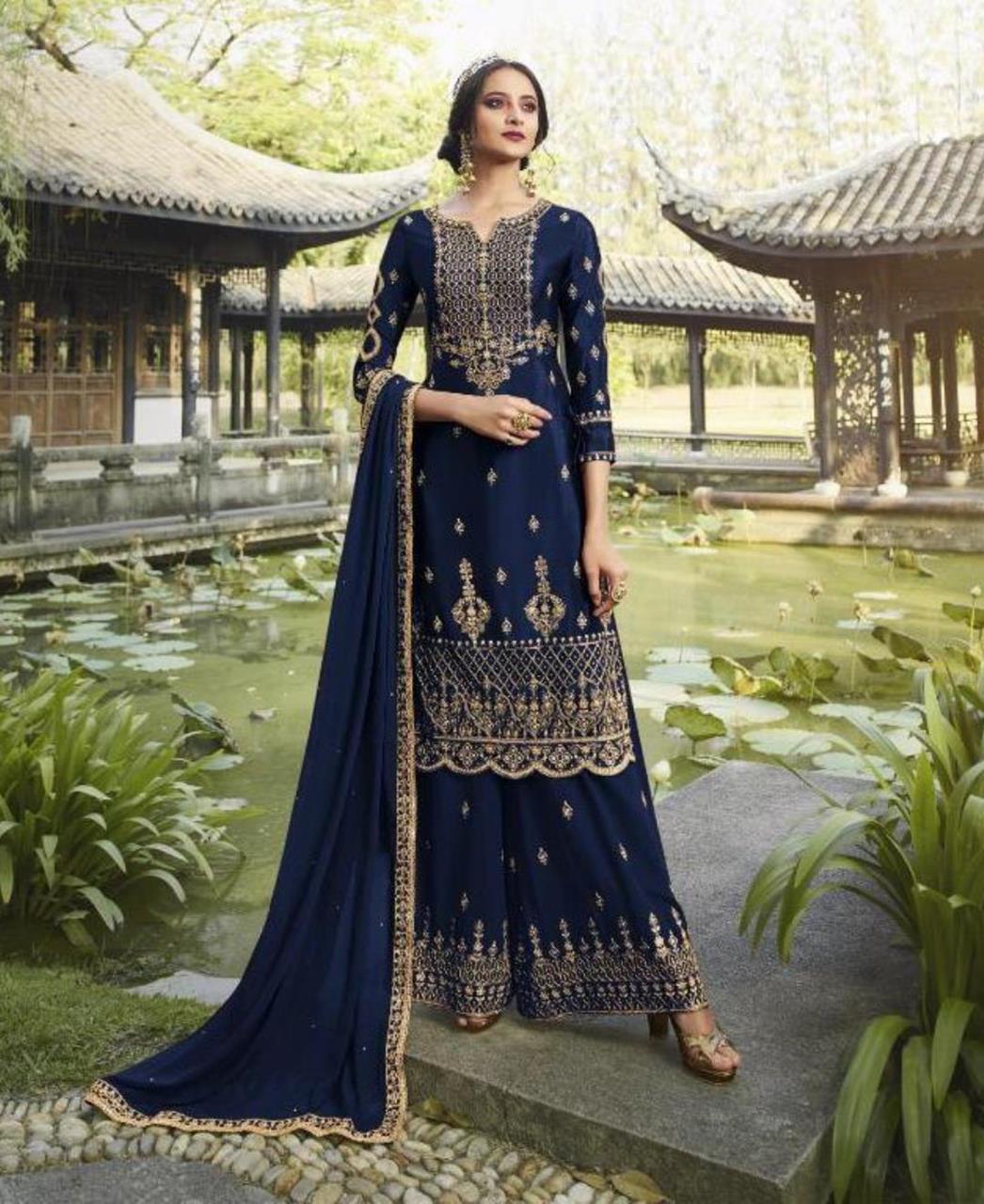 HandWorked Georgette Straight cut Salwar Kameez in Nevy Blue