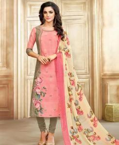 HandWorked Cotton Straight cut Salwar Kameez in Pink
