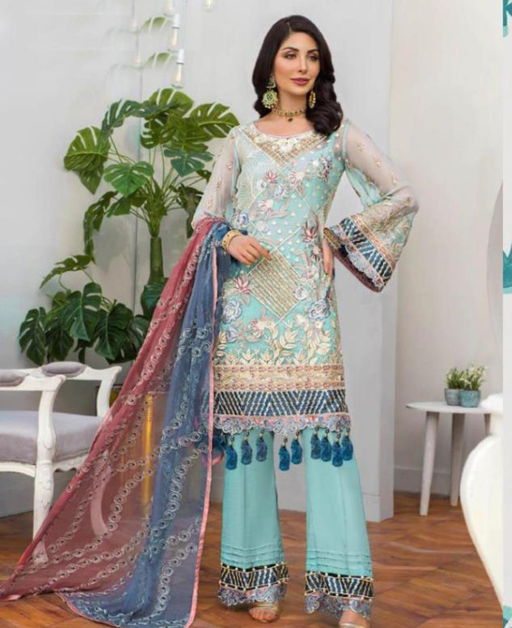 Embroidered Georgette Straight cut Salwar Kameez in Sky Blue