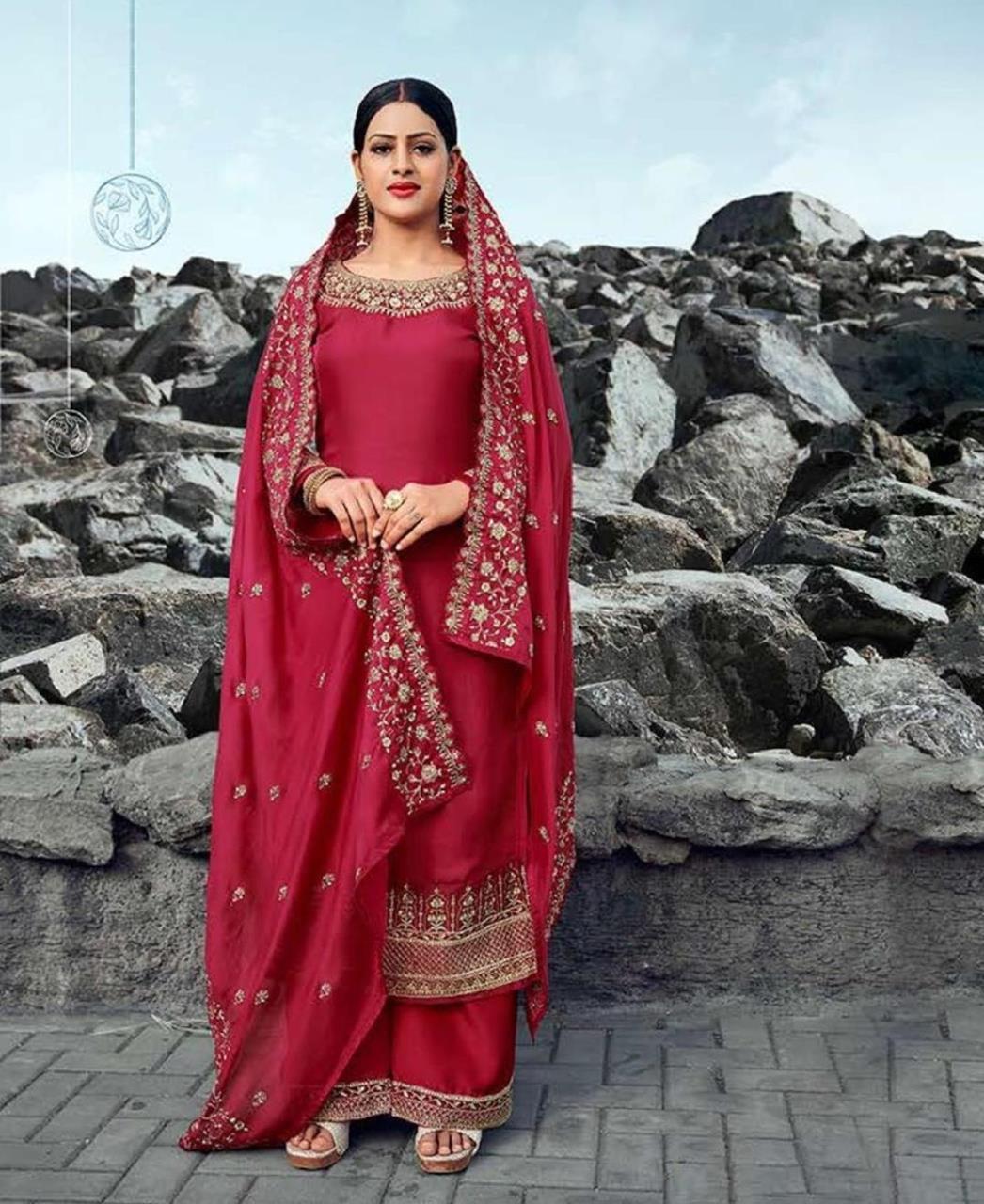 Resham Georgette Straight cut Salwar Kameez in Dark Red