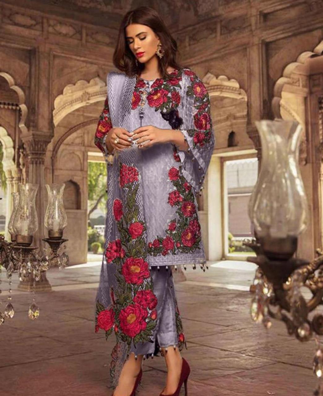 Embroidered Georgette Straight cut Salwar Kameez in Light Purple