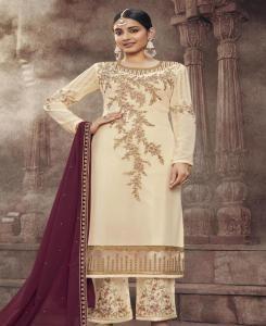 Thread Georgette Straight cut Salwar Kameez in Cream