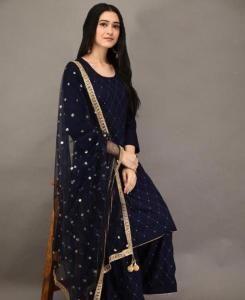 Embroidered Net Straight cut Salwar Kameez in Navy Blue