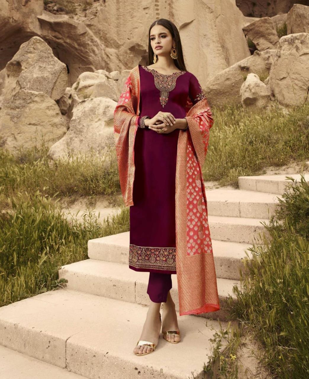 Cord Work Satin Purple Straight Cut Salwar