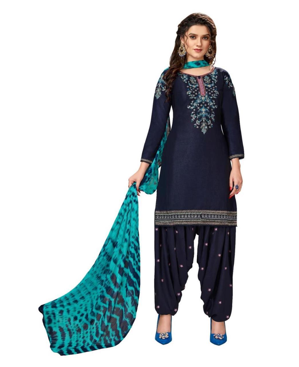 Stone Work Cotton Patiyala Suit Salwar in Nevy Blue