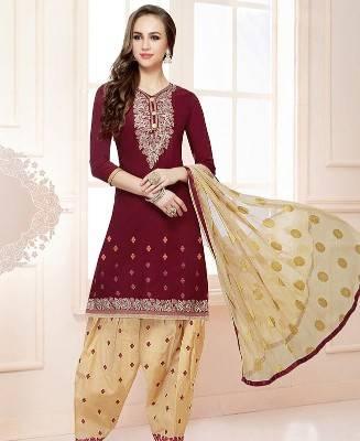 Embroidered Cotton Maroon Patiyala Salwar