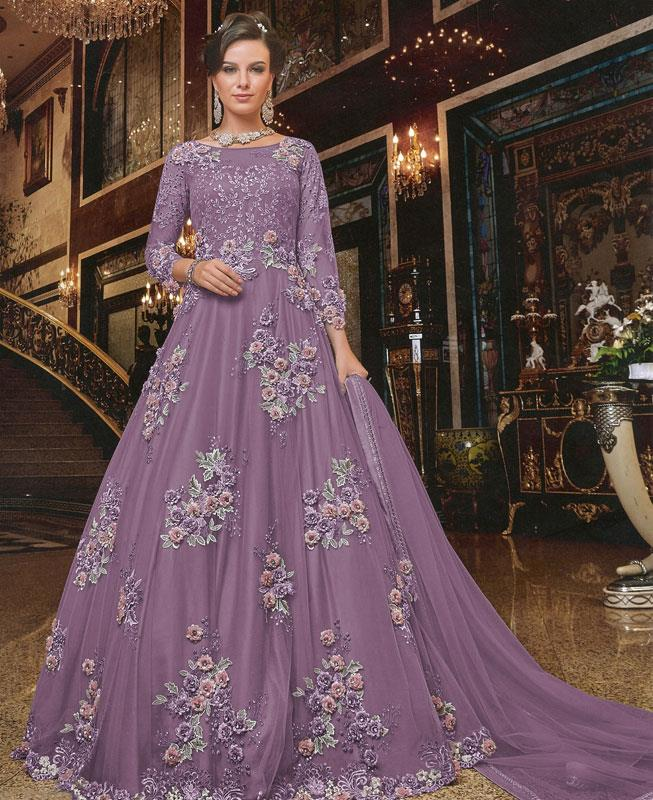 Embroidered Net Lavender Anarkali Salwar