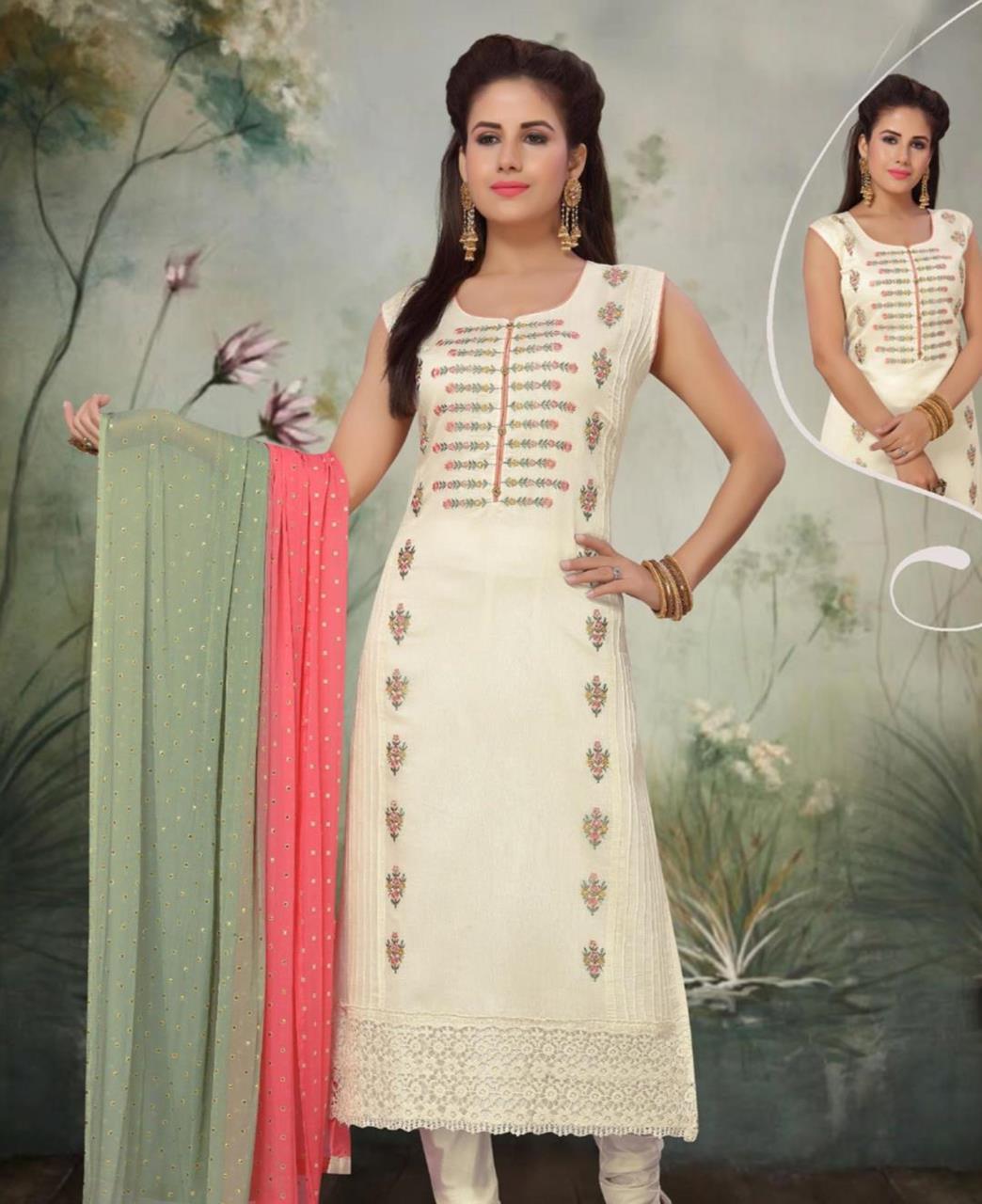 HandWorked Silk Straight cut Salwar Kameez in Off White