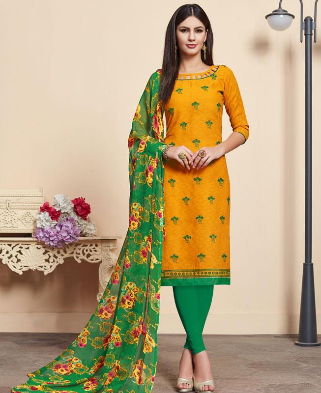 Embroidered Cotton Straight cut Salwar Kameez in Mustard