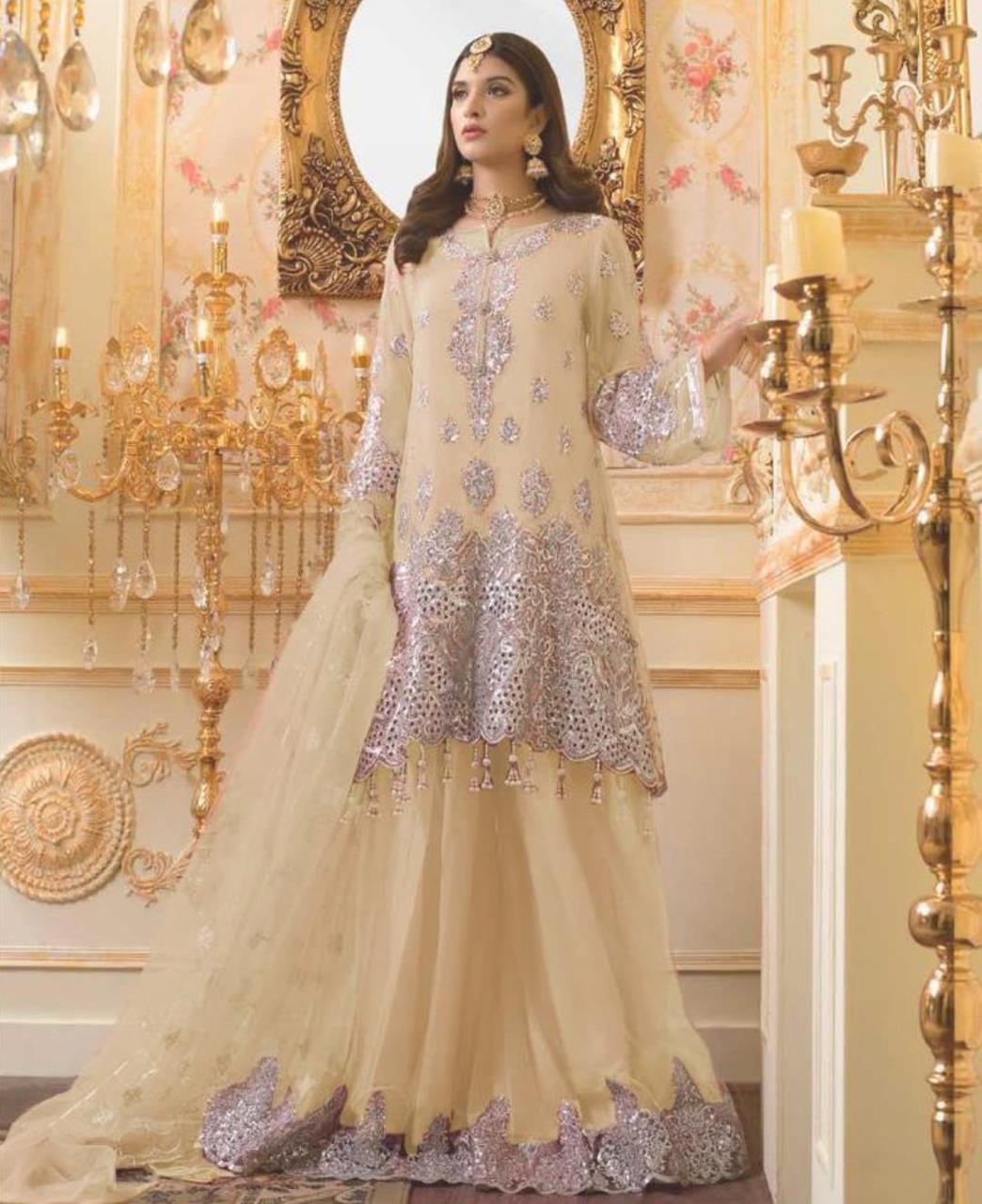 Zari Net Straight cut Salwar Kameez in Cream
