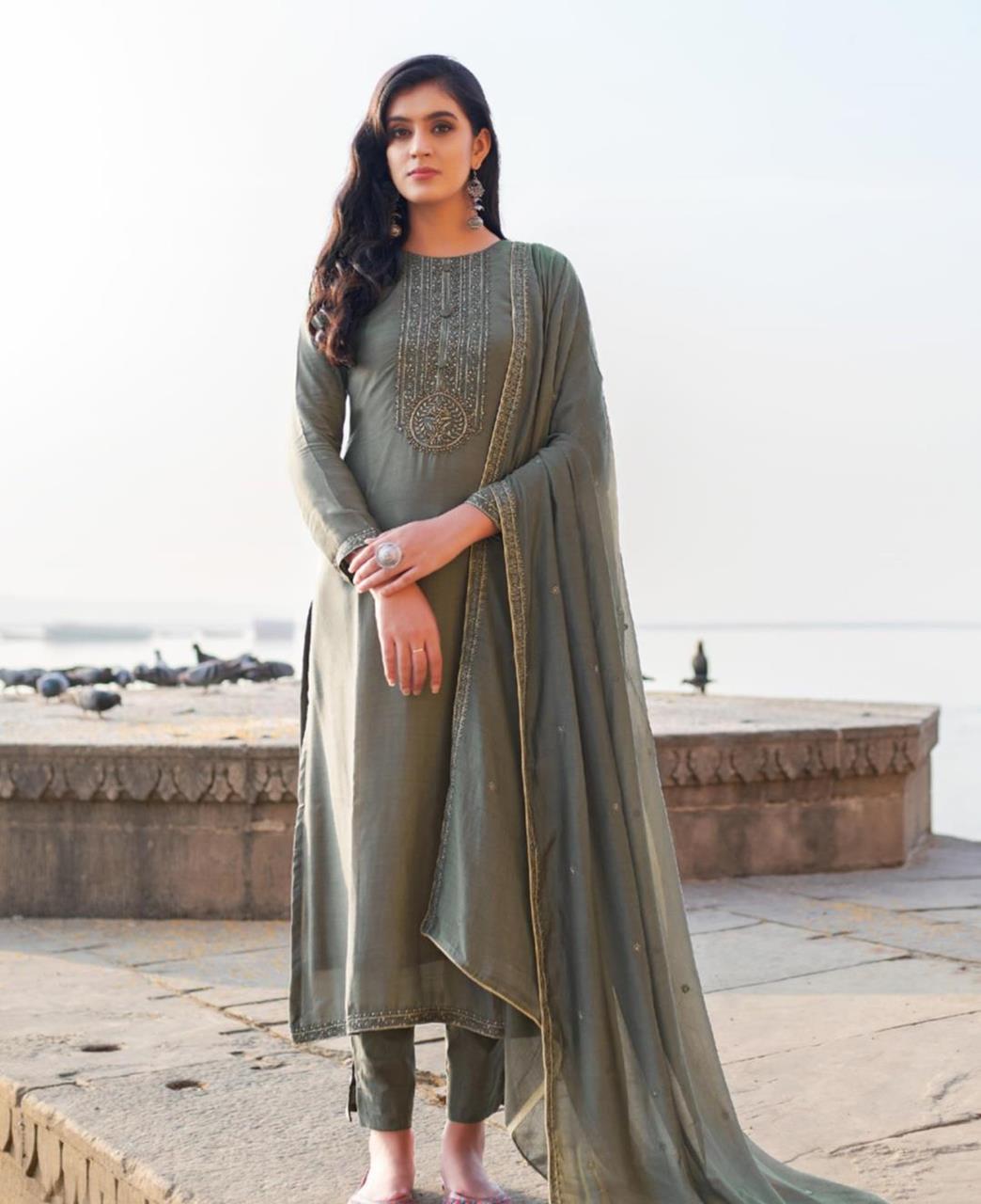 HandWorked Cotton Straight cut Salwar Kameez in Grey