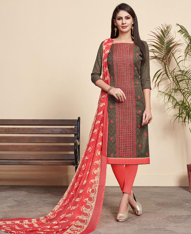 Embroidered Cotton Straight cut Salwar Kameez in Teal Grey