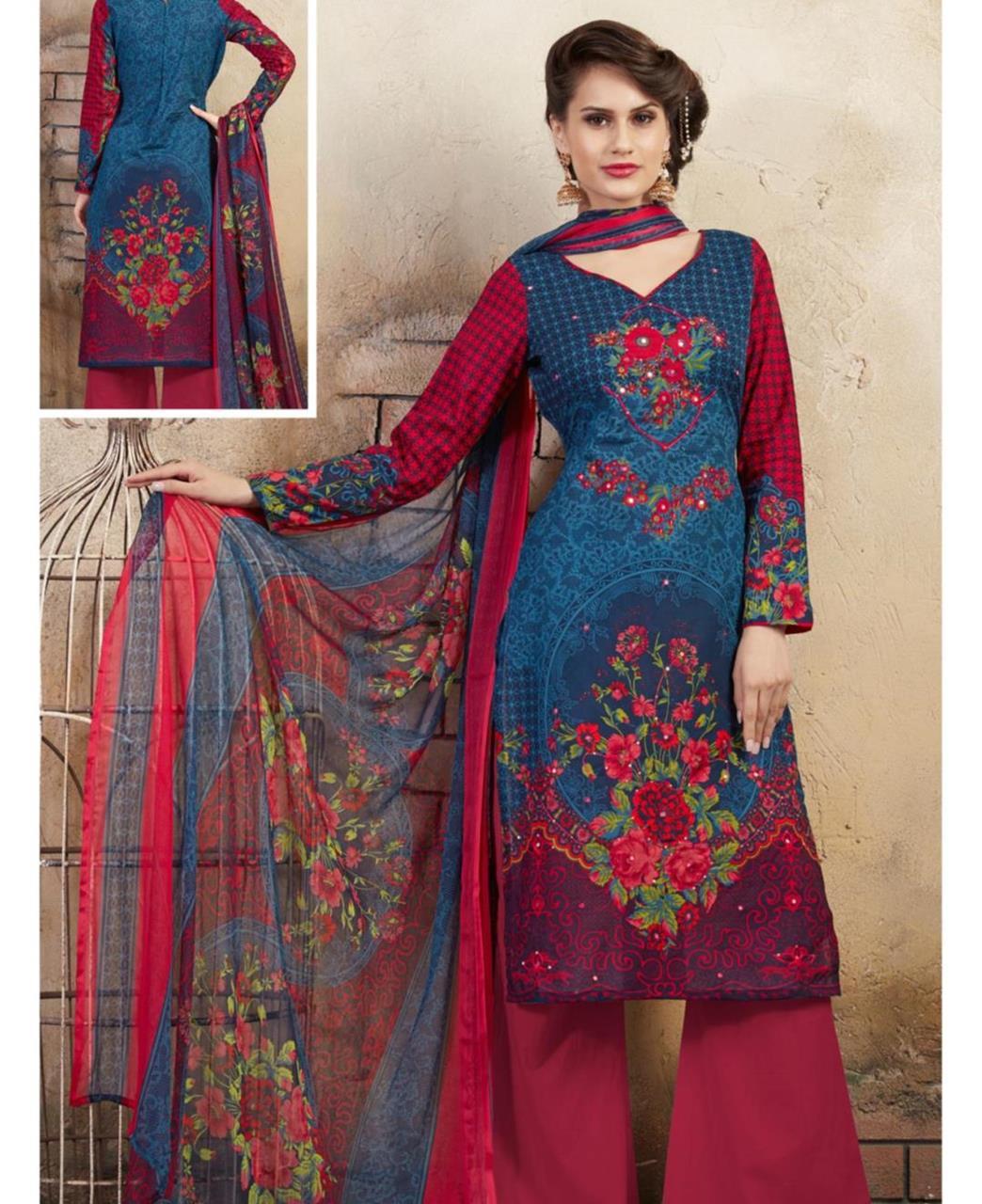 Printed Cotton Blue Palazzo Suit Salwar