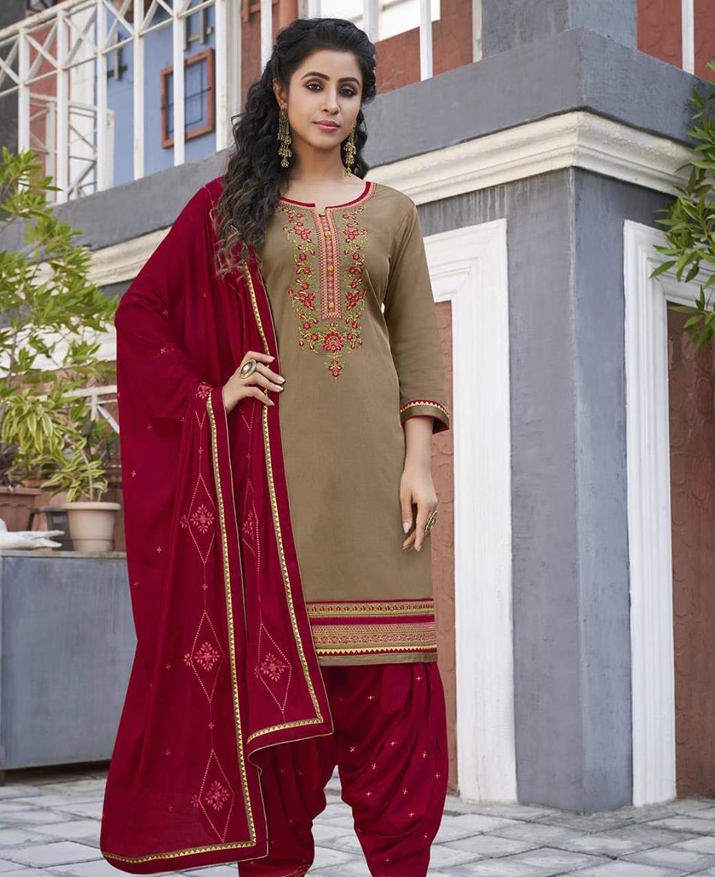 Zari Cotton Patiyala Suit Salwar in Beige