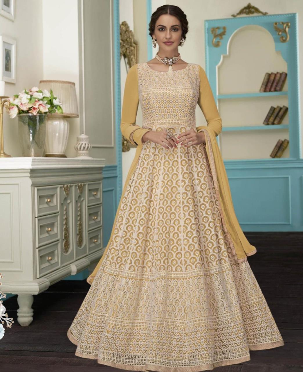 Embroidered Faux Georgette Gold Abaya Salwar