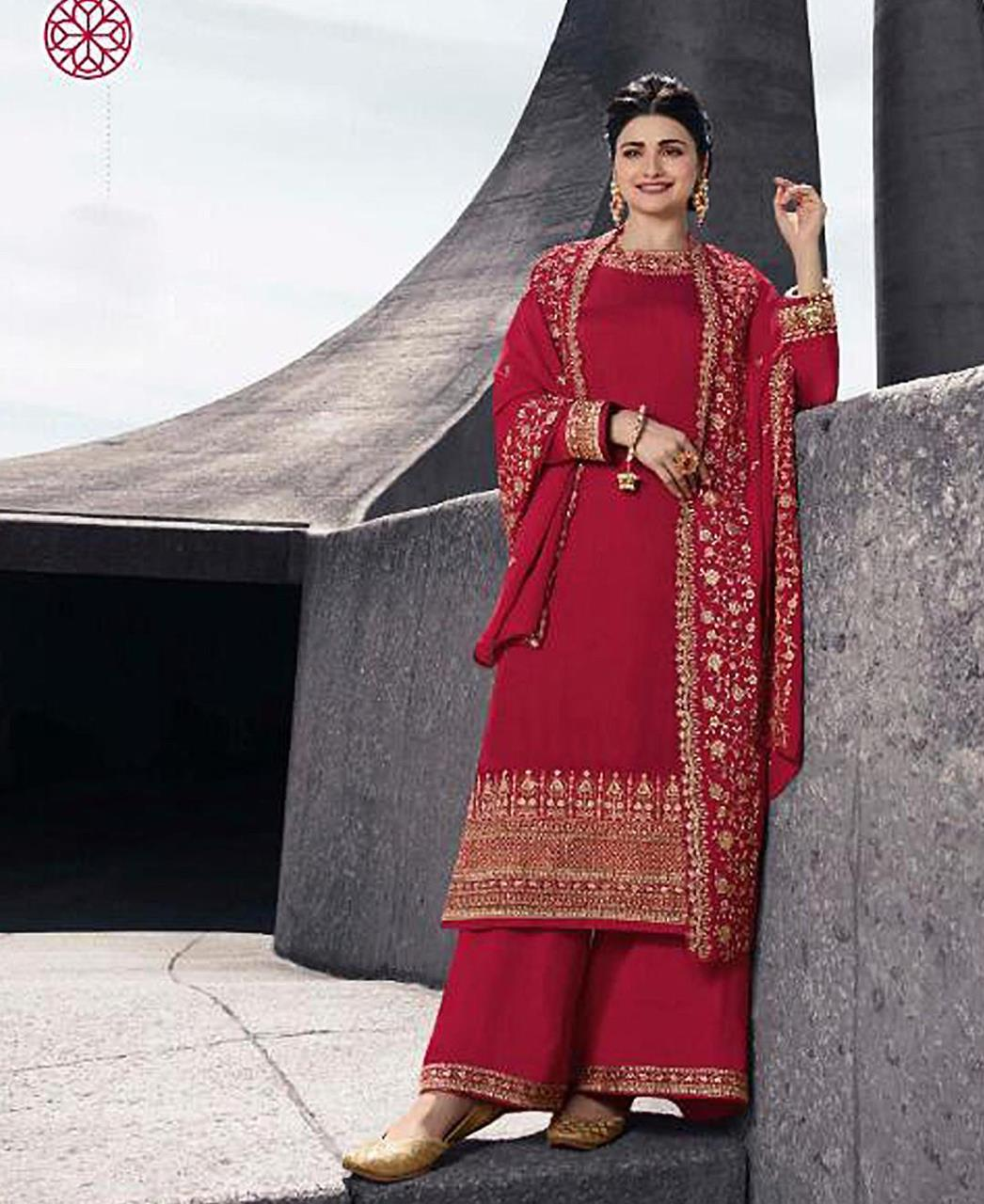 Georgette Straight cut Salwar Kameez in Red