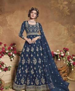 Thread Satin Abaya Style Salwar in Aqua Blue