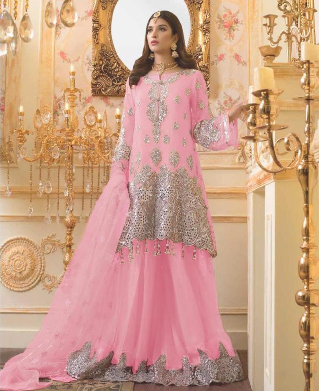 Zari Net Straight cut Salwar Kameez in Light Pink