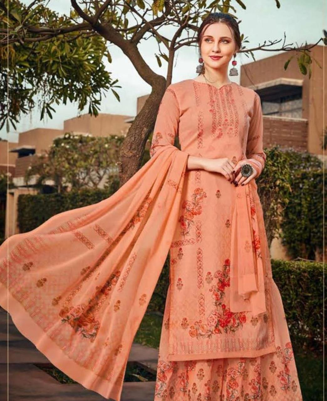 Stone Work Georgette Straight cut Salwar Kameez in Light Orange