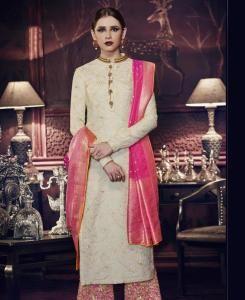 Thread Silk Abaya Style Salwar in Off White