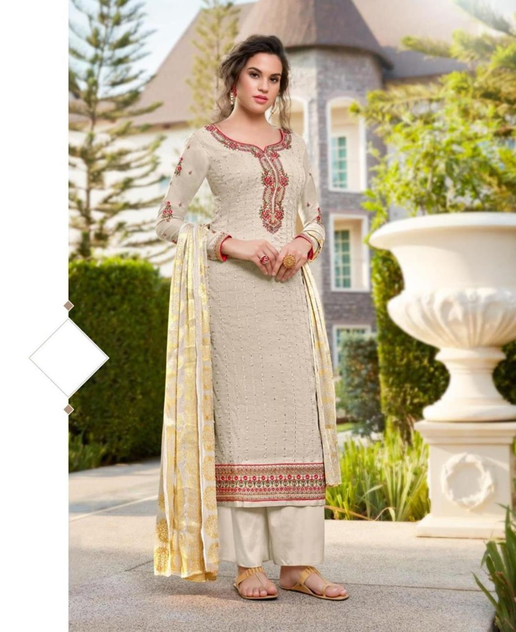 Resham Silk Straight cut Salwar Kameez in Off-White