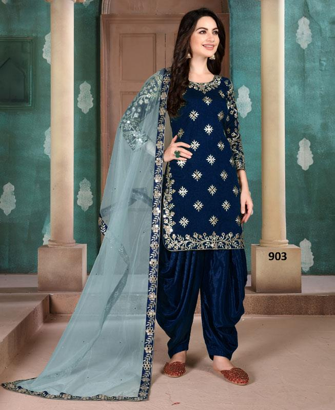 Silk Patiyala Suit Salwar in Blue