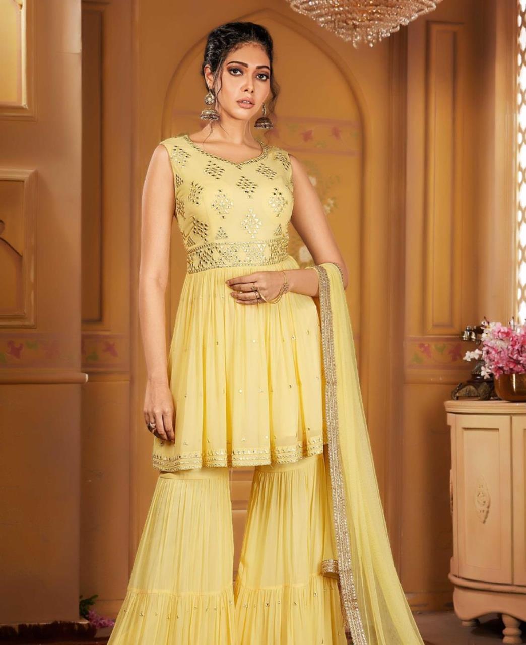Georgette Straight cut Salwar Kameez in Lemon