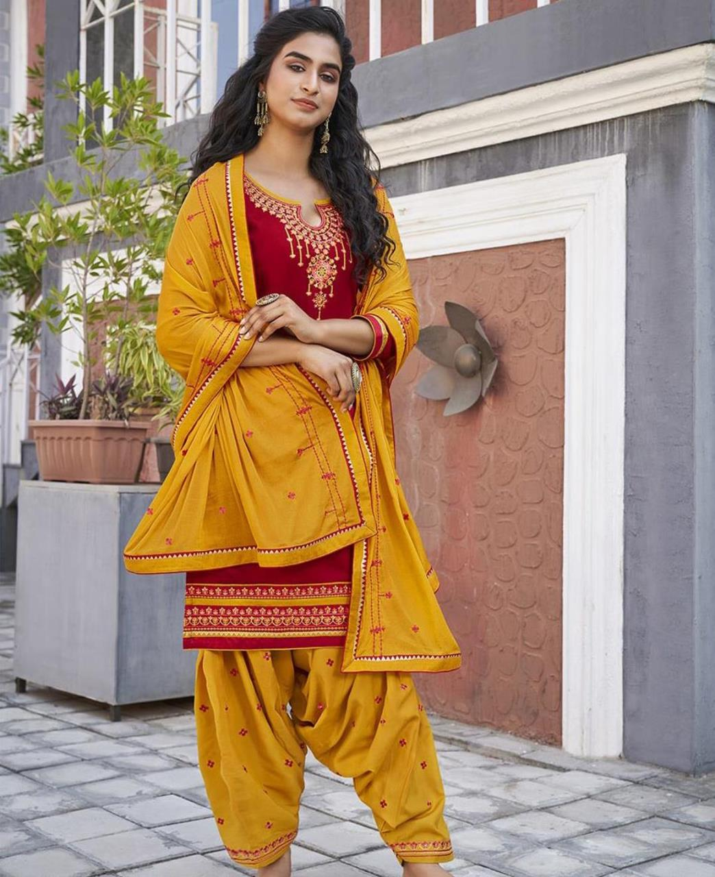 Zari Cotton Patiyala Suit Salwar in Red
