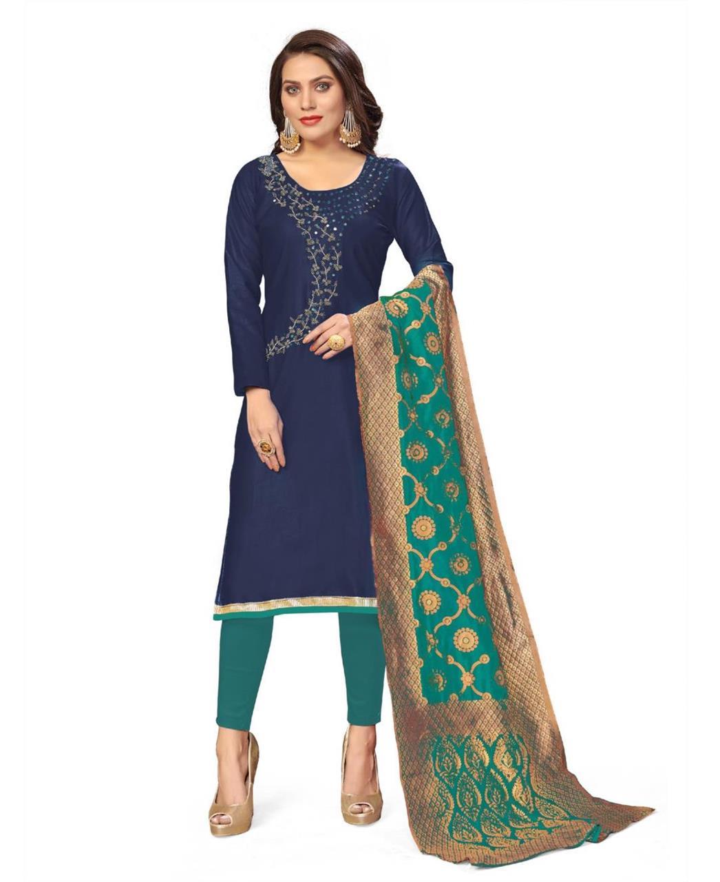 Cotton Straight cut Salwar Kameez in Navy Blue