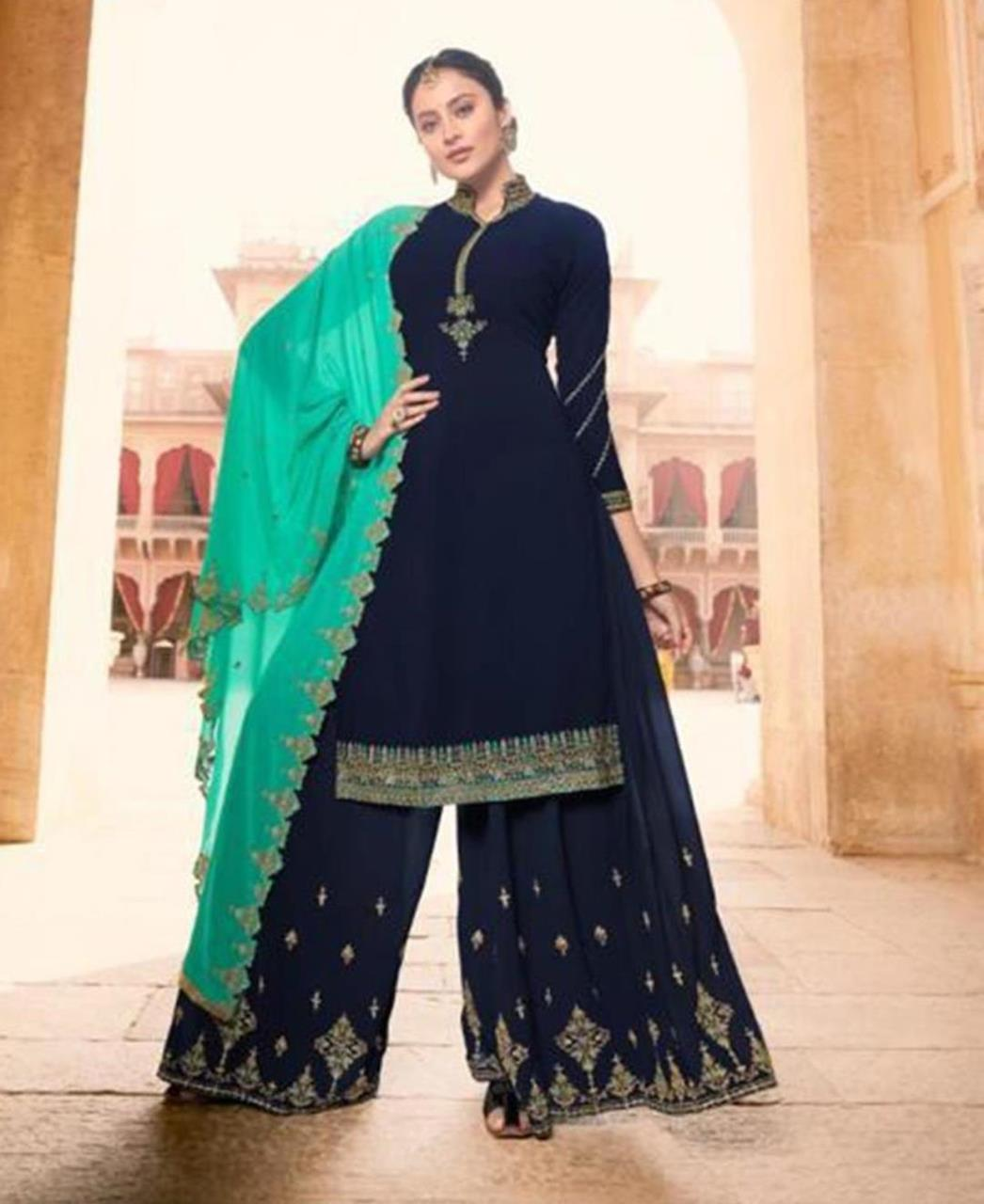 Embroidered Georgette Navyblue Palazzo Suit Salwar