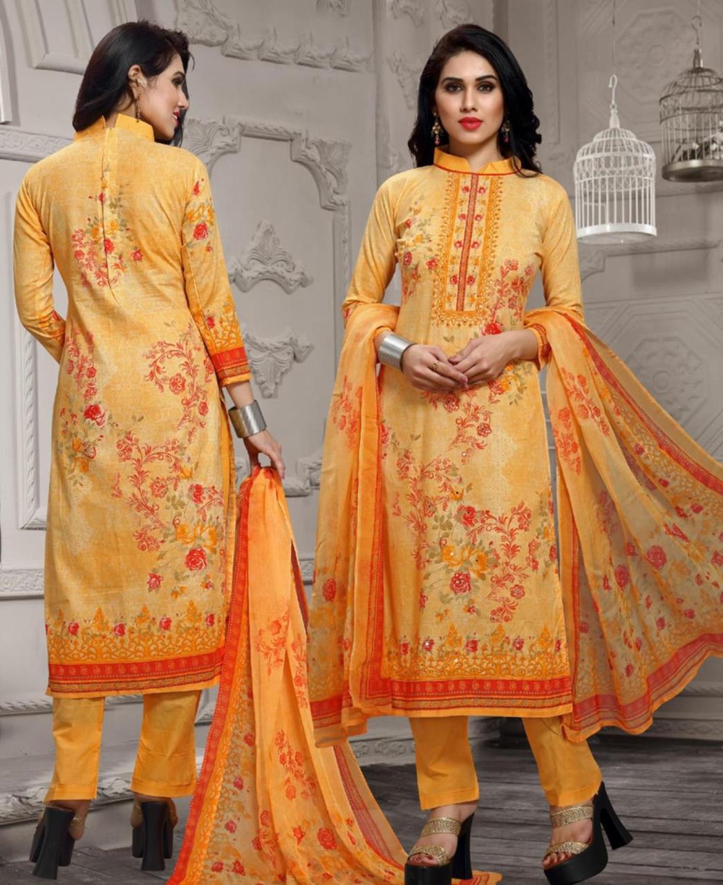 Printed Cotton Yellow Straight Cut Salwar