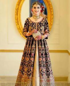 Embroidered Net Abaya Style Salwar in Black