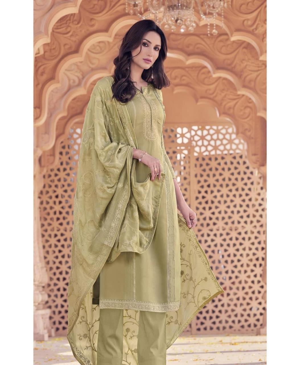 Zari Cotton Straight cut Salwar Kameez in Olive