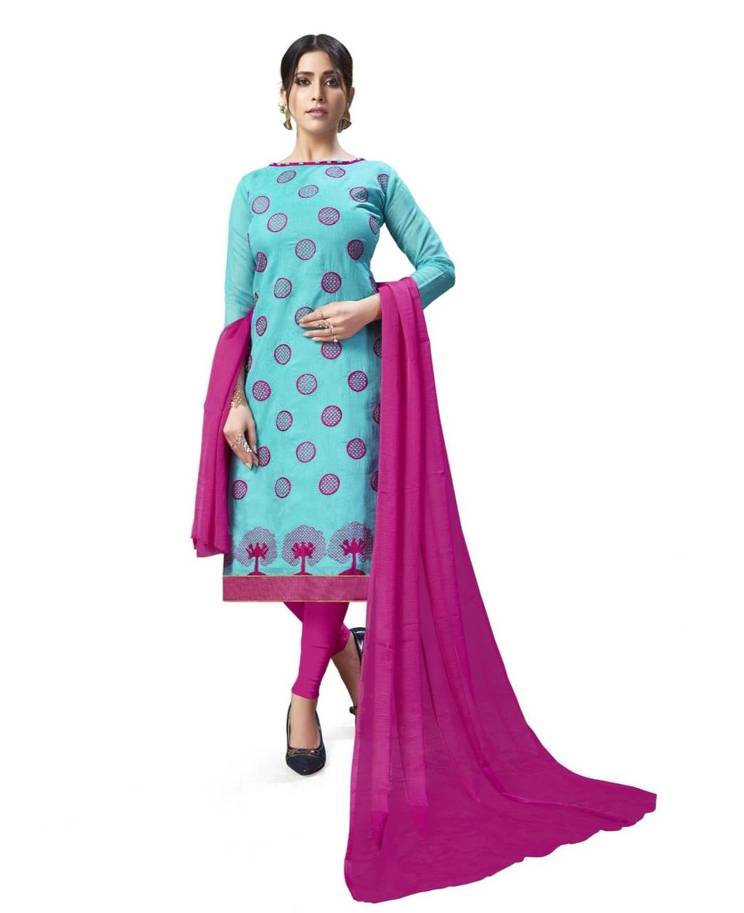 Embroidered Chanderi SKYBLUE Straight Cut Salwar