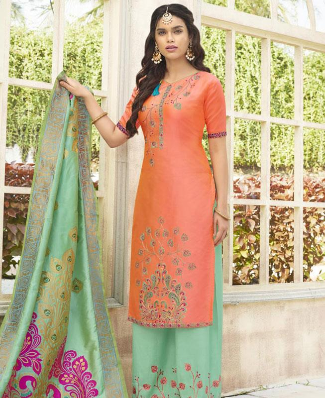 Embroidered Cotton PeachPuff Palazzo Suit Salwar
