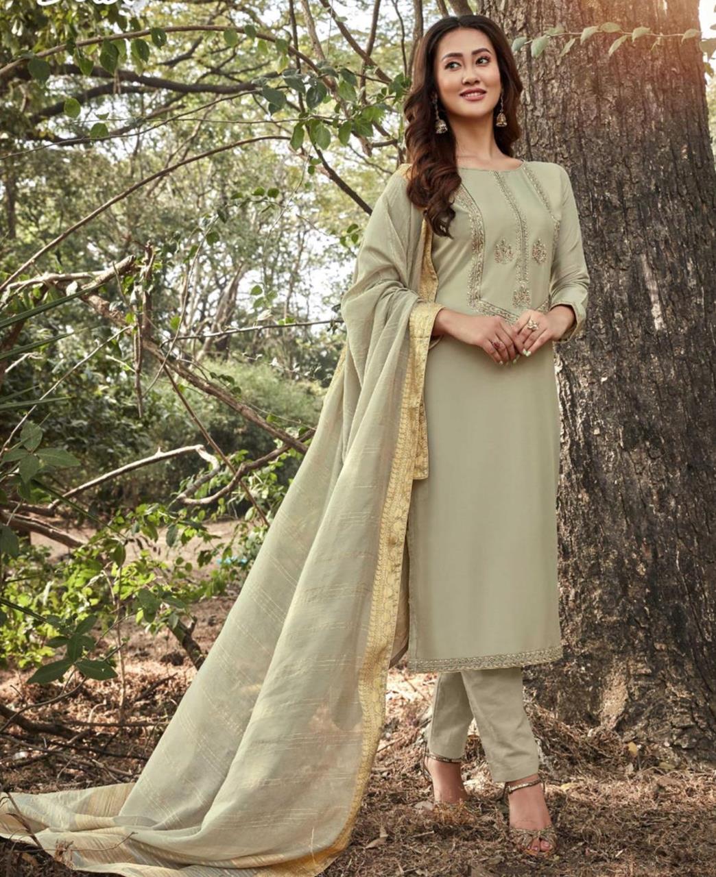 Zari Cotton Straight cut Salwar Kameez in Light Beige