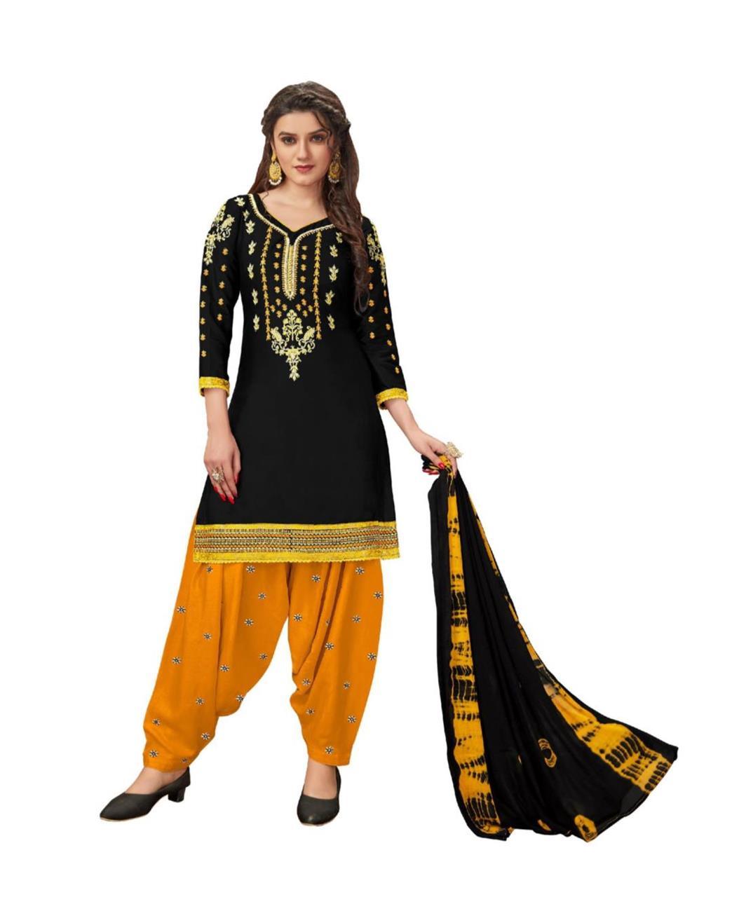 Stone Work Cotton Patiyala Suit Salwar in Black