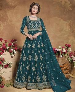 Thread Satin Abaya Style Salwar in Aqua Green
