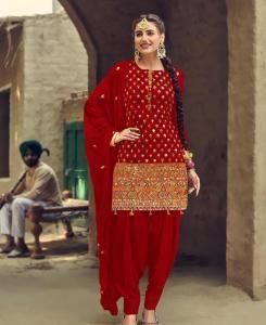 Thread Georgette Patiyala Suit Salwar in Red