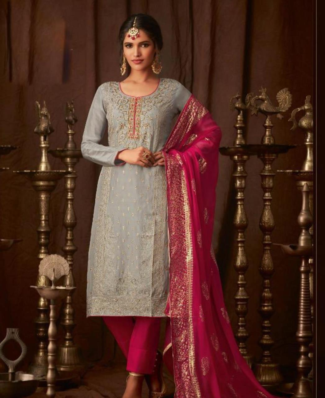 Georgette Straight cut Salwar Kameez in Grey  ,  Pink