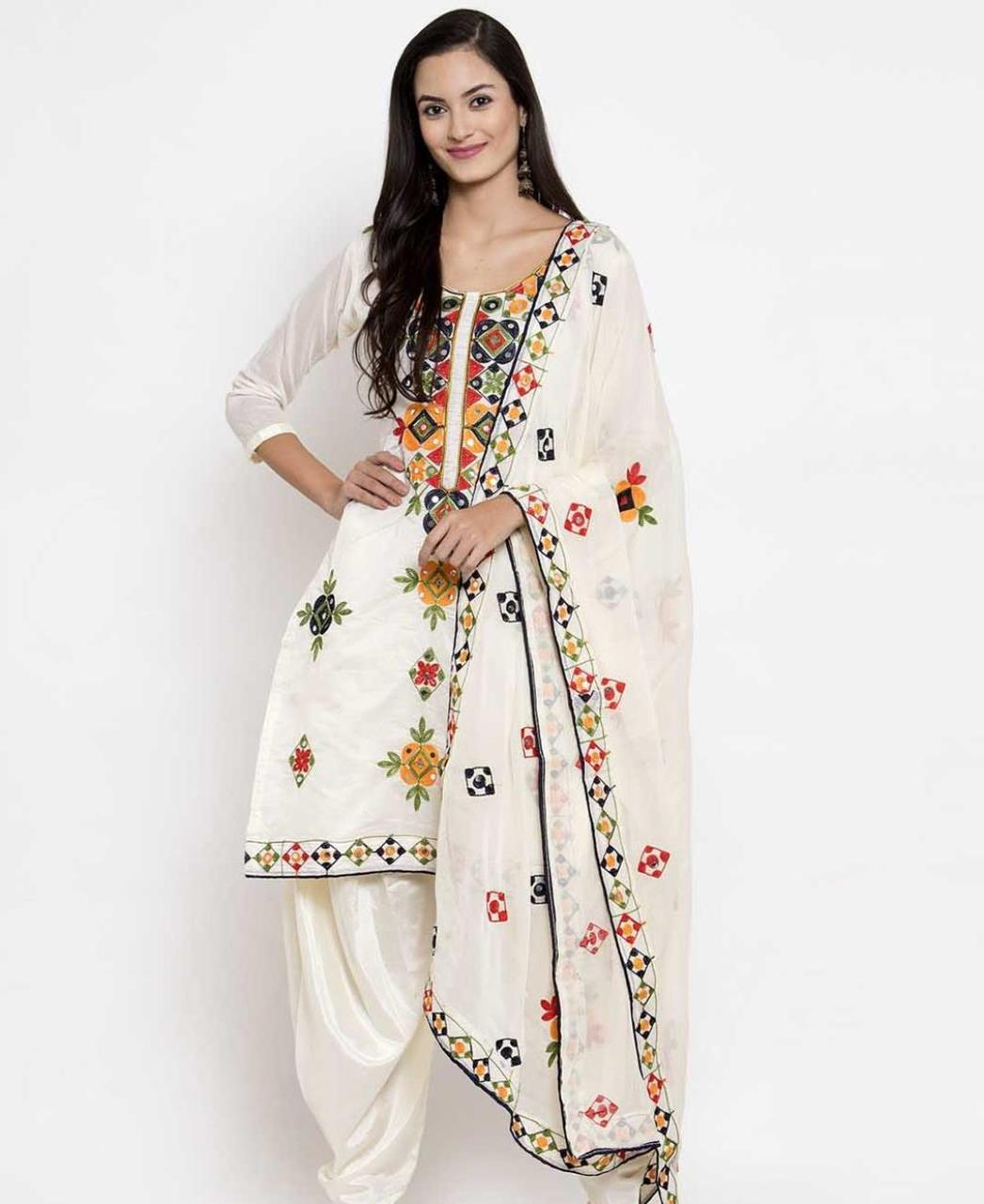 HandWorked Silk Patiyala Suit Salwar in White