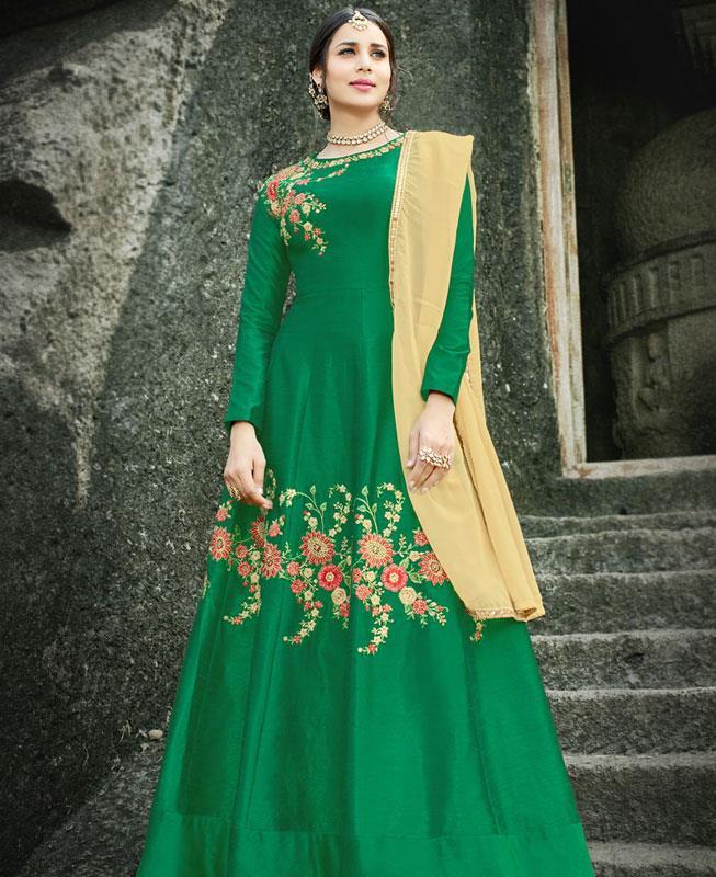 Embroidered Silk Green Abaya Style Salwar