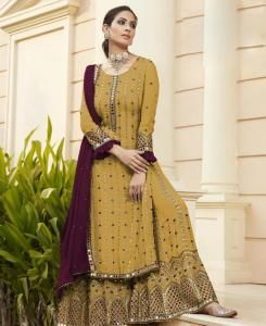 Embroidered Georgette Straight cut Salwar Kameez in Selectiveyellow